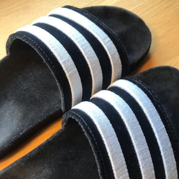 new concept 36910 87563 adidas Shoes - Adidas Adilette Suede Slides - Black White